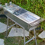 """Party Griller 32"""" x 11"""" Stainless Steel Charcoal Barbecue Grill w/ 2x Stainless Steel Mesh Grate - Portable BBQ Kebab, Satay, Yakitori Grill. Makes Juicy Shish Kebob, Shashlik, Spiedini on the Skewer"""