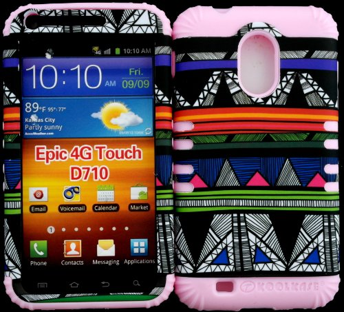 Hybrid Impact Protective Cover Case Colorful Tribal Aztec On Baby Pink Skin For Samsung S2 Galaxy Epic 4G Touch D710 R760 For Sprint/Boost Mobile/Virgin Mobile/Us Cellular front-1055613