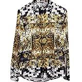 (ピゾフ)Pizoff メンズ シャツ 襟付 長袖 黒白 金色花模様 プリント ファッション おしゃれ カッコいい ストリート系 豪華 派手 モード 原宿系 カジュアル 快適 トップス Y1706-6-M