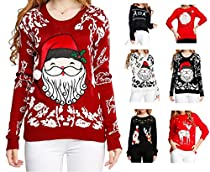 Women Girl Christmas Cute Santa Embroidered Knitted Deer Pullover Sweater Jumper