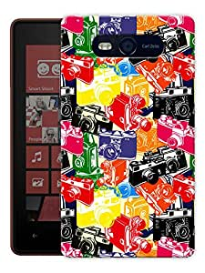 """Humor Gang Cameras From Now To Then Printed Designer Mobile Back Cover For """"Nokia Lumia 820"""" (3D, Matte, Premium Quality Snap On Case)"""