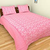 Azaan Décor 120 TC Cotton Double Bedsheet with 2 Pillow Covers - Pink