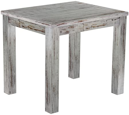 Brasilmöbel Dining Table Solid Pine Wood Oiled and Waxed Oak Wood / Antique Shabby Chic (L / W/H): 90 x 73 x 78 CM