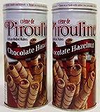 Creme De Pirouline Chocolate Hazelnut Artisan Rolled Wafers All Natural 3.25 Oz Tins (2 Tins)