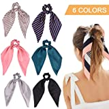 6Pcs Hair Scrunchies Satin Silk Elastic Hair Bands Hair Scarf Ponytail Holder Scrunchy Ties Vintage Accessories for Women Girls (Color: Stripes & Solid Colors, Tamaño: 6 Count)