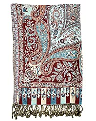 Fashionable Viscose Stole Maroon 80x40 Paisley Self Weaved shawl By Rajrang