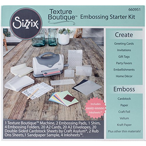 Sizzix 660951 Texture Boutique Embossing Machine Starter Kit, White & Gray (Embossing Starter Kit compare prices)