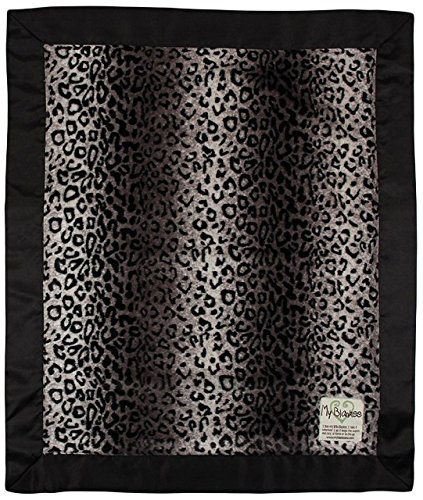"My Blankee Luxe Baby Blanket, 14"" x 17"", Cheetah Black/Grey"
