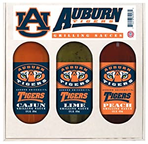 Auburn Tigers NCAA Grilling Gift Set (12oz Cajun, 12oz Lime, 12oz Peach) by Hot Sauce Harrys