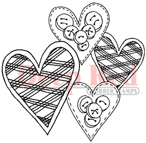 Deep Red Stamps Love Buttons Rubber Stamp - 1