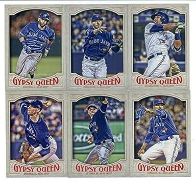 2016 Topps Gypsy Queen Toronto Blue Jays Team Set of 12 Cards: Jose Bautista(#12), Marcus Stroman(#14), Edwin Encarnacion(#69), Josh Donaldson(#78), Troy Tulowitzki(#164), Devon Travis(#190), Roberto Osuna(#194), R.A. Dickey(#205), Aaron Sanchez(#270), Ke