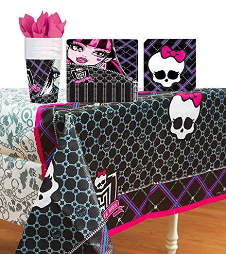 Monster High Party Supplies Pack Including Plates, Cups, Napkins, and Tablecover- 16 Guests