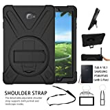 Galaxy Tab A 10.1 Case,[Only Fit P580]Shock-Absorption/High Impact Resistant Heavy Duty Armor Case For Samsung Galaxy Tab A 10.1 Inch Tablet with S Pen SM-P580, W/ Hand strap shoulder belt(Black)
