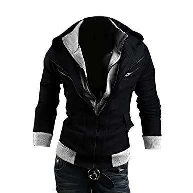 Amoin Men Casual Fashion Zipper Slim Fit Hoodies Jackets Coats Cottory Men s Fashion Slim Fit