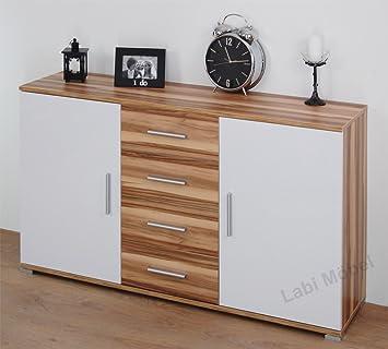 Labi Möbel KR1 cómoda de Cosmo cuerpo & de los cajones: Baltimore de nogal de las puertas y de coloures: de colour blanco de alto brillo 110 cm