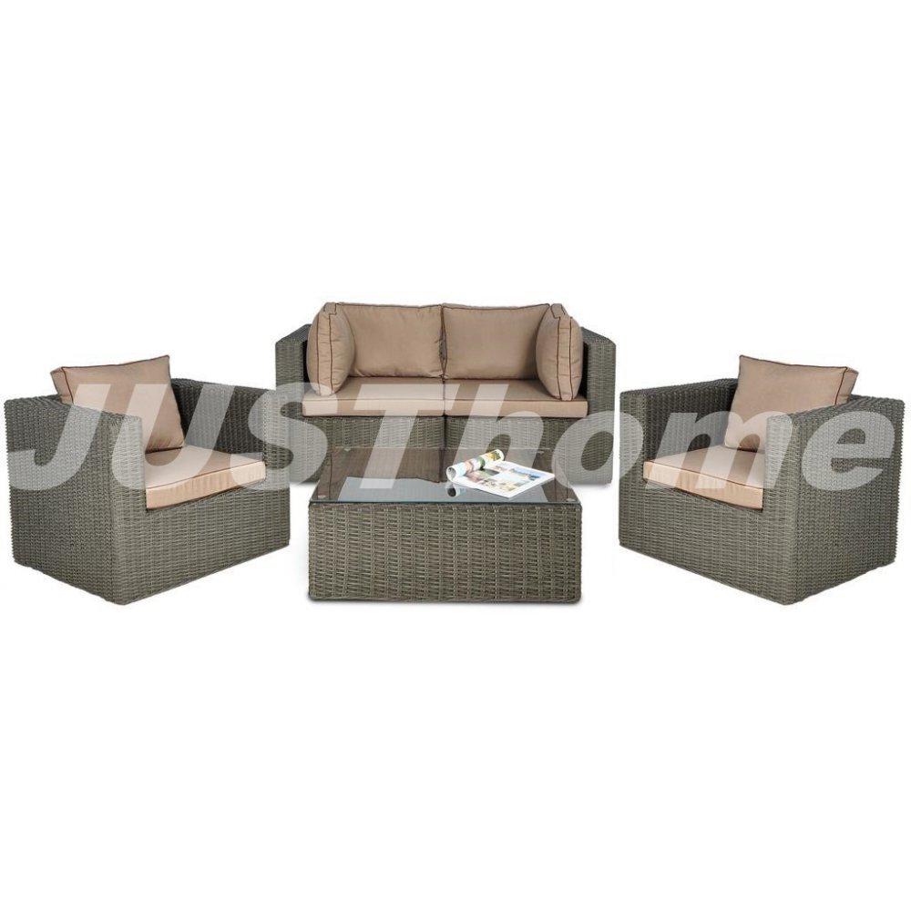JUSThome Gartenmöbel Sitzgruppe Gartengarnitur Rodos IIF 2x Sessel + 1x Sofa + 1x Tisch Grau