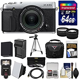 Fujifilm X-E2S Wi-Fi Digital Camera & 18-55mm XF Lens (Silver) with 64GB Card + Battery & Charger + Tripod + Case + Flash + Tele/Wide Lens Kit