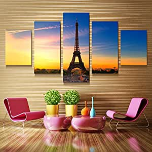 xuanyi art eiffelturm cuadros 5panel leinwand bild wandbild deko f r wohnzimmer kunstdrucke auf. Black Bedroom Furniture Sets. Home Design Ideas