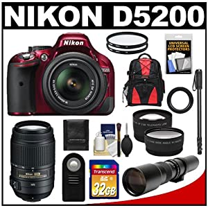 Nikon D5200 Digital SLR Camera & 18-55mm G VR DX AF-S Zoom Lens (Red) with 55-300mm VR + 500mm Telephoto Lens + 32GB Card + Backpack + Tele/Wide Lenses + Monopod + Accessory Kit