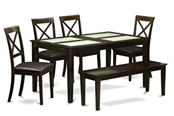 East West Furniture CABO6G-CAP-LC 6-Piece Dining Table with Bench