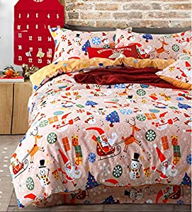 king size sanding santa claus sleigh snowman christmas tree bedding sets 4pcs. Black Bedroom Furniture Sets. Home Design Ideas
