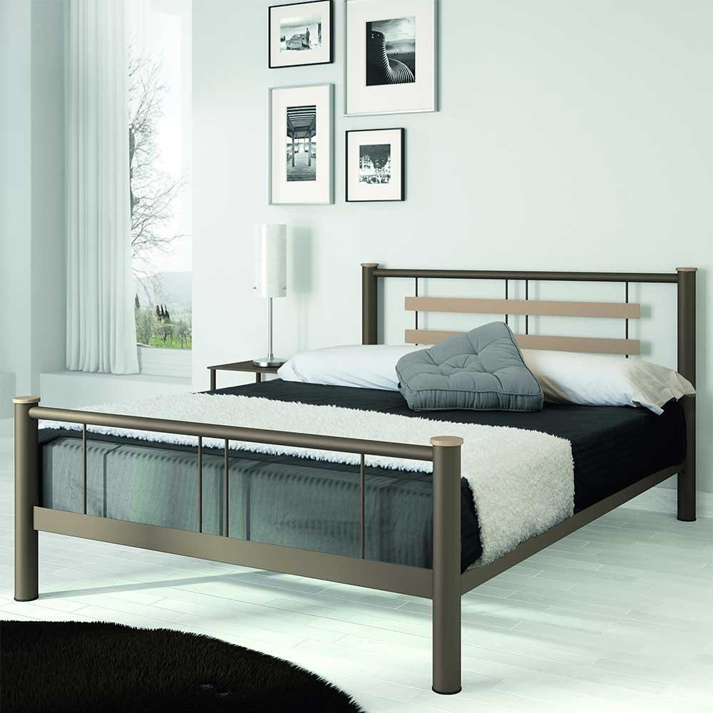 Jugendbett aus Metall Braun Beige Breite 149 cm Liegefläche 140×200 Pharao24 jetzt bestellen
