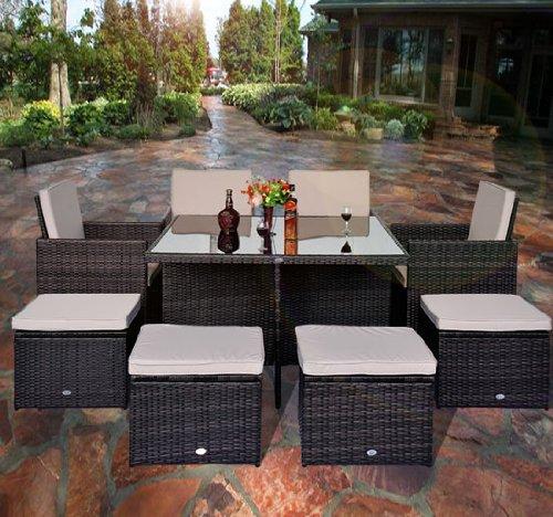 Outsunny - Set mobili da giardino in poly rattan 21pz set da pranzo telaio in alluminio