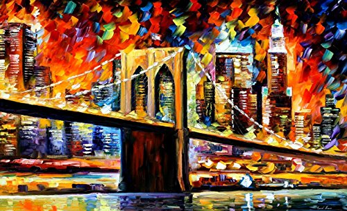 BROOKLYN BRIDGE is a 100% hand painted oil painting on Canvas by Leonid Afremov - Recreation of an older painting