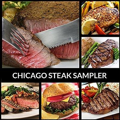 Black Angus Steak Sampler - 8 Cuts / 16 Burger Patties - Filet, Ribeye, Sirloins, Beef, Flat Iron, Marinated Chicken - Chicago Steak Company
