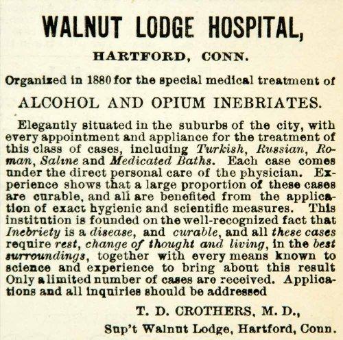1894 Ad Walnut Lodge Hospital Hartford Ct Td Crothers Md Sanitarium Alcohol Drug - Original Print Ad