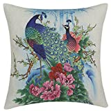 chendongdong Peacock Euphoria Flower Oriental Cushion Cover Decor Sofa Throw Pillow Case Home