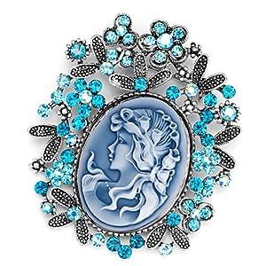 Pugster Vintage Antique Silver Tone Floral Blue Beauty Cameo Border Aquamarine Zircon Lady Maiden Profile Aquamarine Blue Swarovski Crystal Diamond Accent Brooches Pins