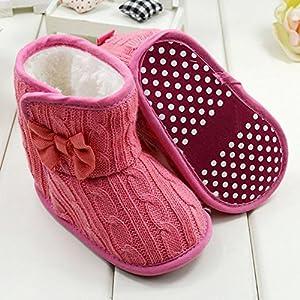 Froomer Botas Bowknot de Puntos de Lana de Imitación Zapatos de Bebé Niña Suave con Suele Zapato infantil Preandador