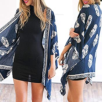 Cami-sunny Women Kimono Cardigan Coat Floral Printed Chiffon Blouse Top
