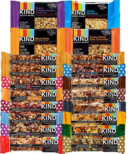 KIND Healthy Fruit & Nut & Plus, Whole Grains Granola Snack Bars, (Count 20) Variety Pack of Different Flavors with Almond, Blueberry, Peanut Butter, Dark Chocolate and other (Kind Bars With Yogurt compare prices)