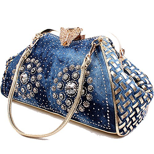 Coofit® Women's Denim Blue Knitted Top Handle Handbags with Shiny Rhinestone