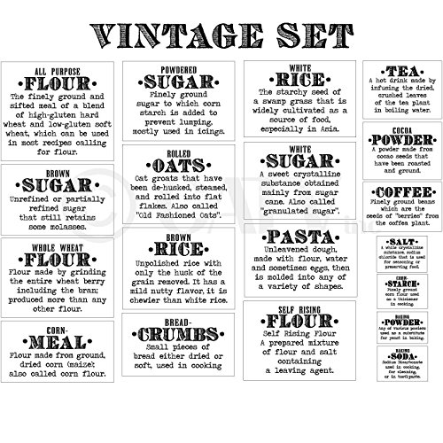 Basics Definition Vintage Font Flour Sugar Oats Rice