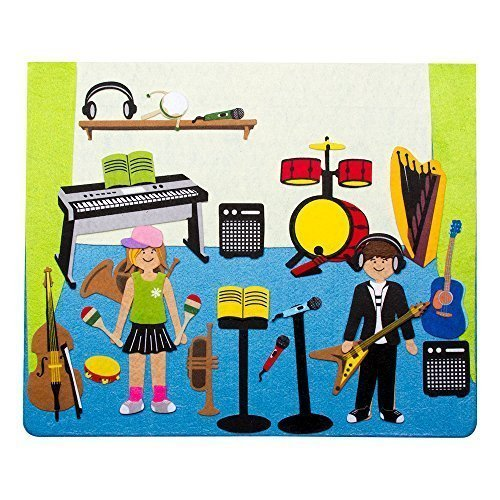 "Sprogs Felt Storyboard - Rocking Music Studio w/ Instruments and Kids- 15"" x 12.5"" - 1"