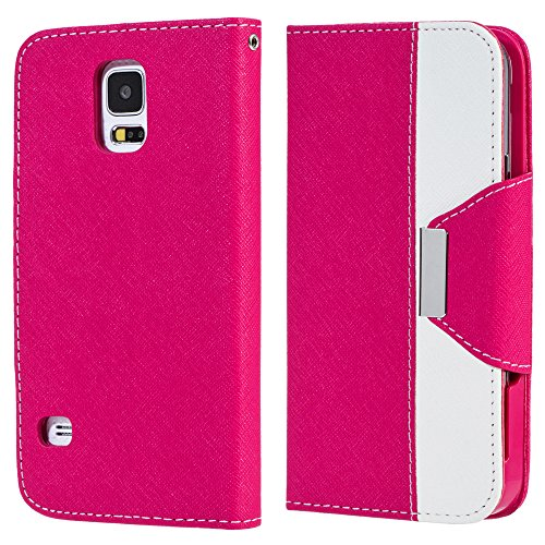 Mylife (Tm) Brilliant Pink And Polished White - Koskin Faux Leather (Card, Cash And Id Holder + Magnetic Detachable Closing + Hand Strap) Slim Wallet For New Galaxy S5 (5G) Smartphone By Samsung (External Rugged Synthetic Leather With Magnetic Clip + Inte