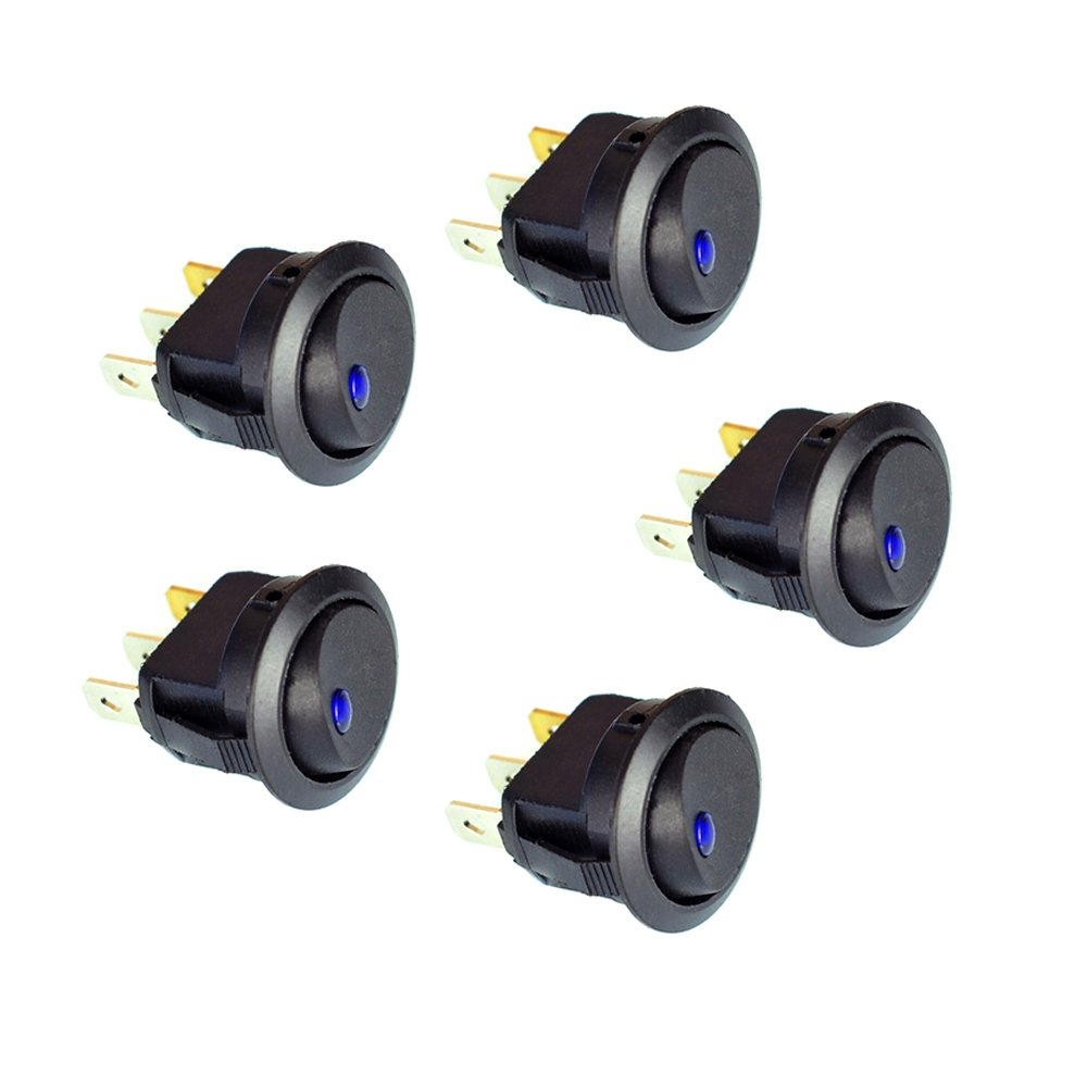 5PC New 16A 12V Round Rocker Toggle Switch Blue LED SPST For All