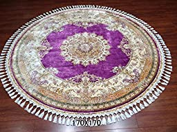 Yuchen 5.5\'x5.5\' Top Quality Natural Silk Hand Knotted Turkish Floral Rugs Persian Carpet
