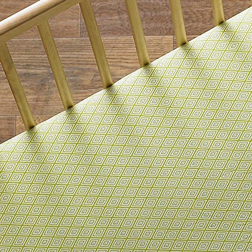 Lolli Living Zig Zag Zoo Fitted Sheet Green Diamond, Multi