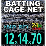 12 x 14 x 70 Baseball Batting Cage - #42 Heavy Duty Net [Net World] 24hr Ship by Net World Sports