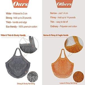 Creatiee Net Shopping Bag, 5Pcs Reusable Mesh Cotton Shopping Tote Handbag, Portable String Bag Organizer for Grocery Shopping/Outdoor Packing/Storage/Fruit/Vegetable(5 Colors) (Color: Short Handle 2)