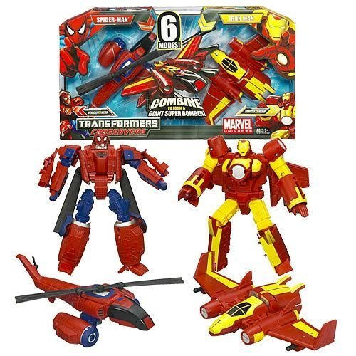 Marvel Universe Transformers Crossovers - Spider Man Attach Helicopter and Iron Man Fighter Jet Combine to Form a Giant Super Bomber - 2-Pack Action Figures by Hasbro (Transformers Marvel Crossovers compare prices)