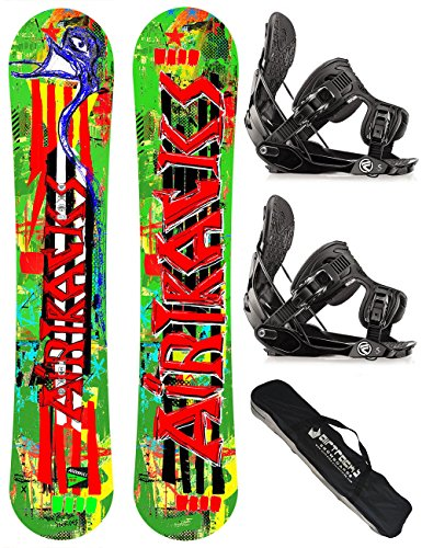 AIRTRACKS SNOWBOARD SET / ONE LINE SNOWBOARD ROCKER + SOFTBINDUNG FLOW FIVE + SB BAG / 146 151 156 / cm