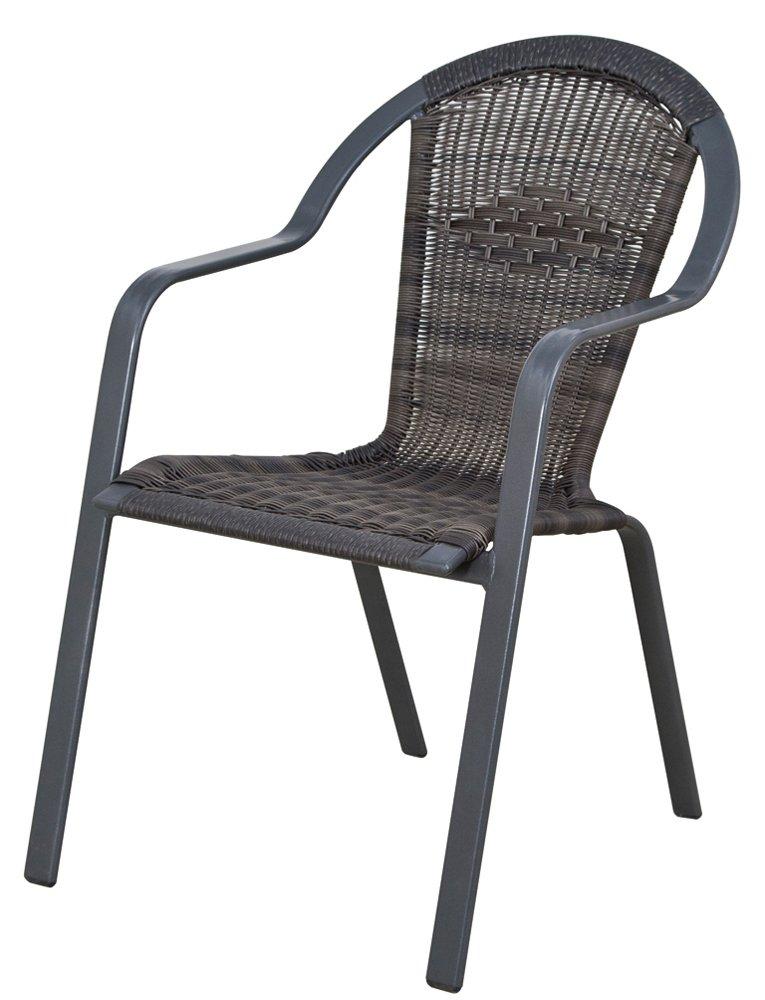 Siena Garden 801210 Stapelsessel Verona, Aluminiumgestell eisengrau, Gardino-Geflecht washed grau, 56 x 75 x 88 cm kaufen