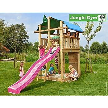 Spielturm Jungle Fort - Set mit Feuerwehrstange Sandkasten Kletterturm - Jungle Gym (inkl. Holzpaket)