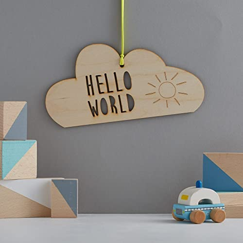 Hello World Wooden Cloud Decoration