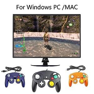 Mekela 5.8 feet Classic USB Wired NGC Controller Gamepad resembles Gamecube for Windows PC MAC (USB Black) (Color: USB Black)